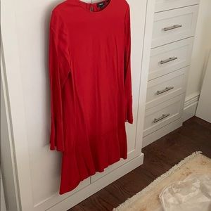 Theory red dress with bell sleeves.